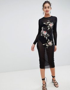 Read more about Glamorous mesh midi dress with floral embroidery - black