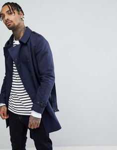 Read more about Asos shower resistant double breasted trench in navy - navy
