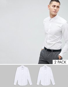 Read more about French connection 2 pack slim fit shirts - white white