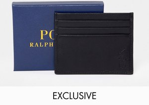 Read more about Polo ralph lauren classic leather card holder player logo in black - black