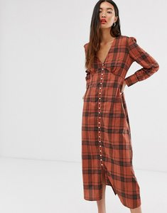 Read more about Only check maxi dress with button through detail