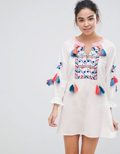 Read more about America beyond white beach tunic dress with heavy embroidery - white