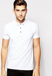 Read more about Asos polo shirt in black pique with button down collar - black