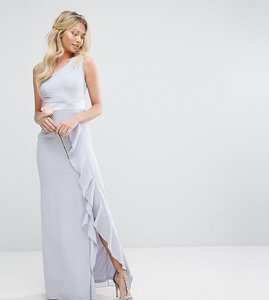Read more about Tfnc wedding one shoulder maxi dress with frill detail - blue