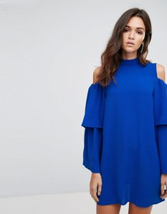 Read more about Ax paris cold shoulder frill sleeve shift dress - cobalt blue