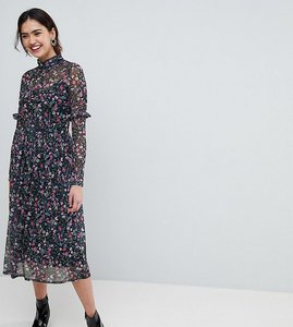 Read more about Asos tall mesh ditsy print midi dress with high neck - multi