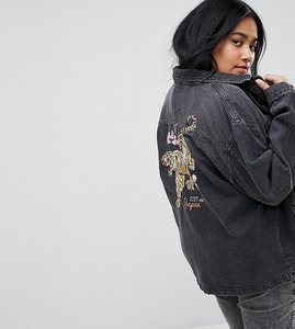 Read more about Chorus plus tiger embroidery oversized denim jacket - black