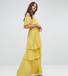 Read more about Ttya black off shoulder pleated ruffle maxi dress - yellow