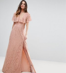 Read more about Asos tall lace open back maxi dress - pink