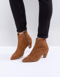 Read more about Asos reanne suede kitten heeled boots - rust suede
