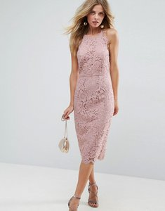Read more about Asos scallop pinny lace pencil midi dress - nude