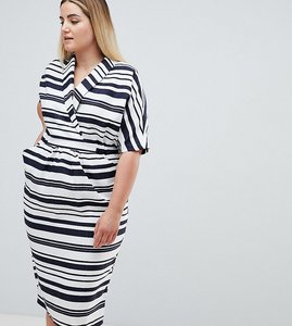 Read more about Asos design curve stripe midi dress with pockets - multi
