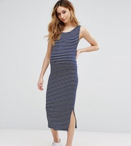 Read more about Isabella oliver sleeveless striped ribbed midi dress - navy white