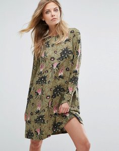 Read more about Y a s blooming floral print long sleeve dress - deep lichen green