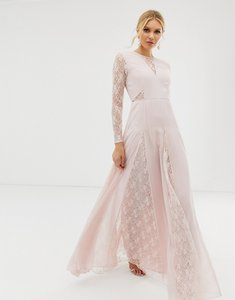 Read more about Asos design maxi dress with long sleeve and lace panelled bodice
