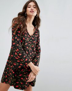 Read more about Asos button through swing dress with trumpet sleeve in floral print - floral print