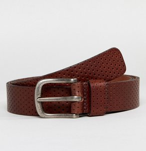 Read more about Esprit perforated leather belt - dark brown