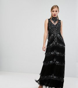 Read more about A star is born embellished maxi dress with tiered fringing and cap sleeve - black
