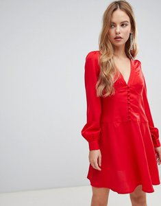 Read more about Asos design button through mini tea dress with long sleeves - red