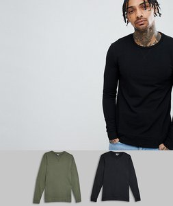 Read more about Asos design muscle sweatshirt 2 pack black khaki - black rifle green