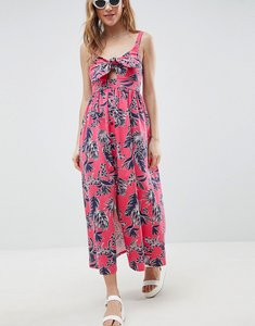 Read more about Asos design tie front skater maxi dress with buttons in hawaiian print - hawaiin print