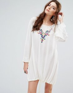 Read more about Glamorous long sleeve smock dress with drawstring and delicate embroidery - cream