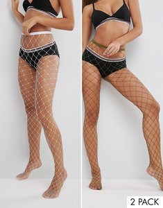 Read more about Asos 2 pack oversized fishnet tights in white and khaki - multi
