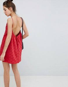 Read more about Asos design low back mini sundress in heart broderie - red