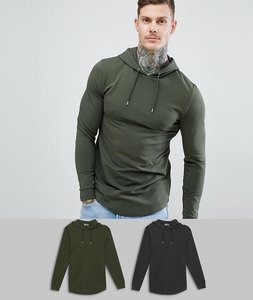 Read more about Asos design longline muscle hoodie with curved hem in black khaki 2 pack - multi 1
