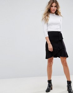 Read more about Asos wrap mini skirt with tie waist - black