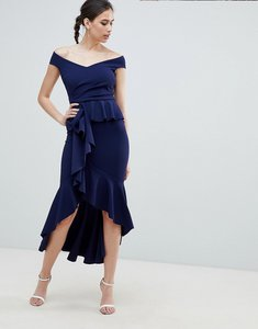 Read more about City goddess waterfall pleated maxi dress - navy