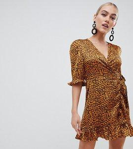 Read more about Boohoo petite animal print satin wrap dress in multi