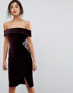 Read more about Oasis lace panel bardot bodycon midi dress - dark purple