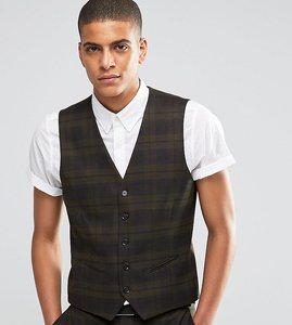 Read more about Selected homme suit waistcoat with check in skinny fit with stretch - khaki