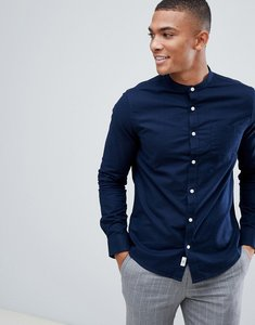 Read more about Burton menswear skinny fit oxford shirt with grandad collar in navy - navy