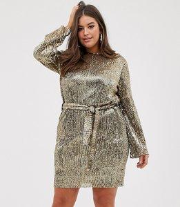 Read more about Club l london plus sequin plisse belted mini dress in matt gold
