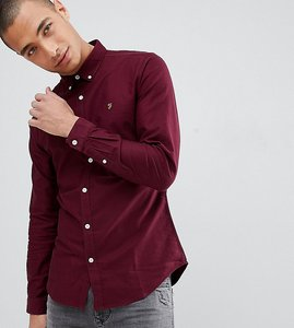 Read more about Farah sansfer skinny fit oxford shirt in burgundy - red