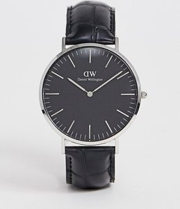 Read more about Daniel wellington classic black reading leather watch with silver dial 40mm - black