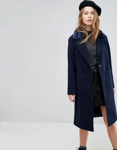 Read more about New look faux fur collar tailored coat - navy