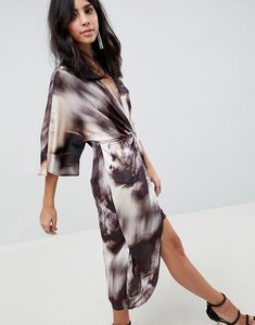 Read more about Asos design midi kimono dress in abstract print - abstract print