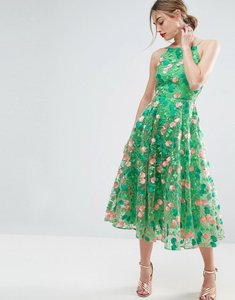 Read more about Asos salon floral embroidered backless pinny midi prom dress - multi