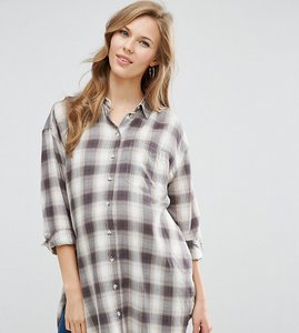 Read more about Asos maternity longline check boyfriend shirt - check