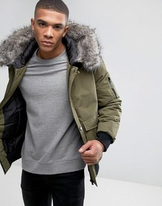 Read more about D-struct faux fur trimmed mid length parka - green
