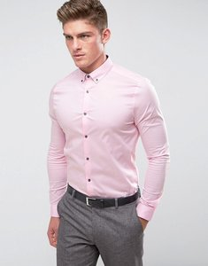 Read more about Burton menswear skinny fit shirt in pink - pink