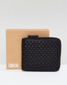 Read more about Asos oversized leather zip around wallet in all over weave design in black - black