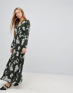 Read more about Liquorish floral print maxi dress with pleated skirt - green
