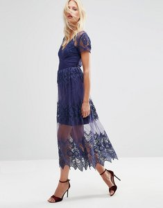 Read more about Asos embroidered mesh and lace midi dress - blue