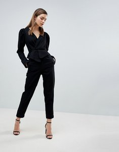 Read more about Asos design denim jumpsuit with balloon sleeve in black - black
