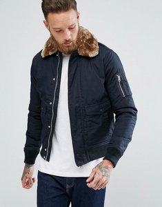 Read more about Schott exclusive air bomber jacket detachable faux fur collar slim fit in navy beige - navy beige