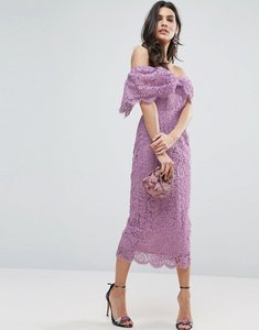 Read more about Asos off shoulder bardot pencil midi dress - lilac